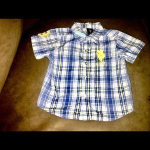 Boy US POLO ASSN Blue & Yellow Button Collar Shirt